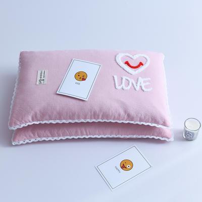 2021水洗棉毛巾绣荞麦枕头枕芯 30*50cm/个 毛巾绣-爱心粉