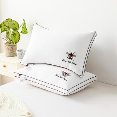 2021新款彩色双边绣花小蜜蜂枕头枕芯48*74cm/个 小蜜蜂白色立体