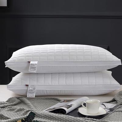 2021新款磨毛绗绣立体四方格枕芯枕头48*74cm/个 灰色