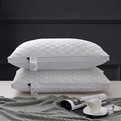 2021新款磨毛立体绗绣菱形方格枕头枕芯48*74cm/个 灰色