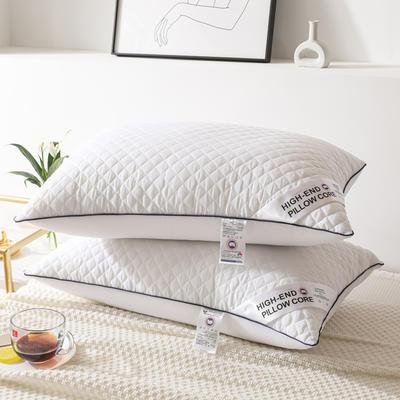 2021新款格纹冷灰单边绗绣枕头枕芯48*74cm /个 格纹冷灰-单边大白
