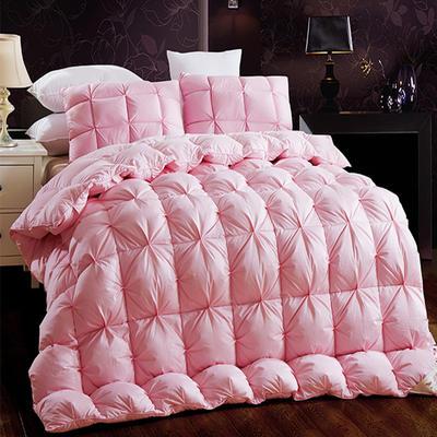 扭花80支全棉羽绒被95白鹅绒被子双人单人被芯纯棉加厚保暖冬被 160*210  水洗朵朵白鸭绒 粉色