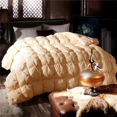 扭花80支全棉羽绒被95白鹅绒被子双人单人被芯纯棉加厚保暖冬被 160*210  水洗朵朵白鸭绒 米黄
