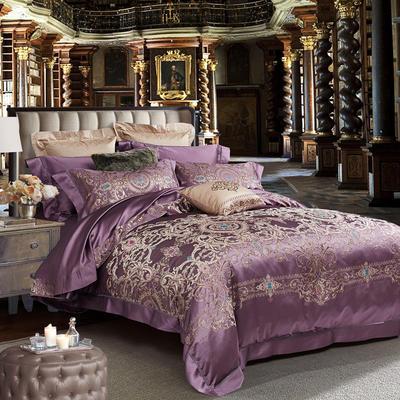 晋瑞家纺真丝四件套 丝绸100%桑蚕丝色织贡缎大提花丝绸床上用品 2.0m(6.6英尺)床 巴斯克罗