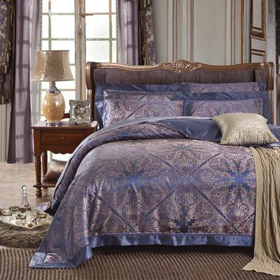 晋瑞家纺真丝四件套 丝绸100%桑蚕丝色织贡缎大提花丝绸床上用品 2.0m(6.6英尺)床 格塔里亚