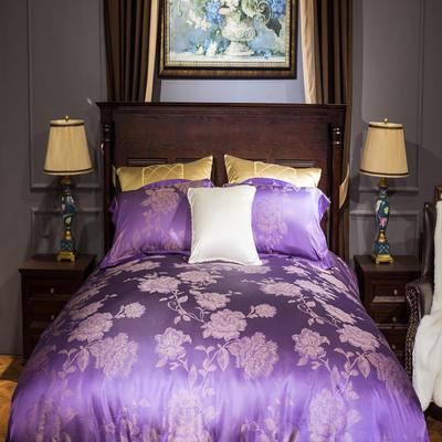 晋瑞家纺真丝四件套 丝绸100%桑蚕丝色织贡缎大提花丝绸床上用品 2.0m(6.6英尺)床 赫拉之恋