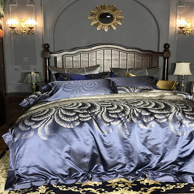 晋瑞家纺真丝四件套 丝绸100%桑蚕丝色织贡缎大提花丝绸床上用品 2.0m(6.6英尺)床 花之仙境