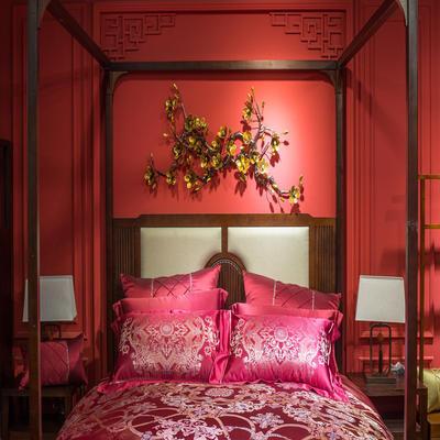 晋瑞家纺真丝四件套 丝绸100%桑蚕丝色织贡缎大提花丝绸床上用品 2.0m(6.6英尺)床 尼伯特红