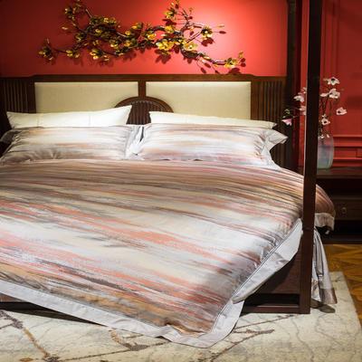 晋瑞家纺真丝四件套 丝绸100%桑蚕丝色织贡缎大提花丝绸床上用品 2.0m(6.6英尺)床 轻奢品位