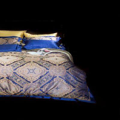 晋瑞家纺真丝四件套 丝绸100%桑蚕丝色织贡缎大提花丝绸床上用品 2.0m(6.6英尺)床 盛世王朝