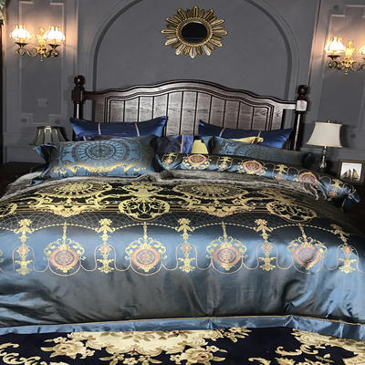 晋瑞家纺真丝四件套 丝绸100%桑蚕丝色织贡缎大提花丝绸床上用品 2.0m(6.6英尺)床 苏迪罗