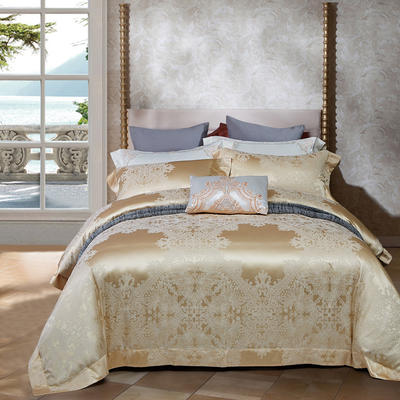 晋瑞家纺真丝棉四件套100%桑蚕丝贡缎大提花床上用品丝绸 2.0m(6.6英尺)床 格兰迪亚