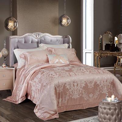 晋瑞家纺真丝棉四件套100%桑蚕丝贡缎大提花床上用品丝绸 2.0m(6.6英尺)床 罗娜