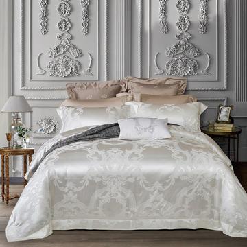 晋瑞家纺真丝棉四件套100%桑蚕丝贡缎大提花床上用品丝绸