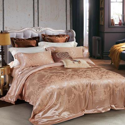 晋瑞家纺真丝棉四件套100%桑蚕丝贡缎大提花床上用品丝绸 2.0m(6.6英尺)床 迷情