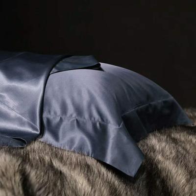 晋瑞家纺真丝枕套丝绸枕巾全真丝纯色桑蚕丝枕头套 48*74+边6cm/只 灰蓝