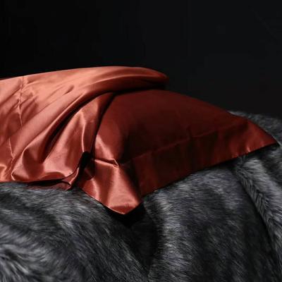 晋瑞家纺真丝枕套丝绸枕巾全真丝纯色桑蚕丝枕头套 48*74+边6cm/只 姜红