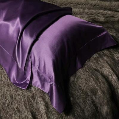 晋瑞家纺真丝枕套丝绸枕巾全真丝纯色桑蚕丝枕头套 48*74+边6cm/只 紫色