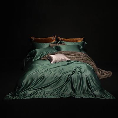 真丝棉纯色四件套晋瑞家纺真丝四件套 丝绸桑蚕丝贡缎大提花丝绸床上用品 2.0m(6.6英尺)床 墨绿