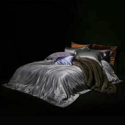 真丝棉纯色四件套晋瑞家纺真丝四件套 丝绸桑蚕丝贡缎大提花丝绸床上用品 2.0m(6.6英尺)床 银灰