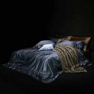 真丝棉纯色四件套晋瑞家纺真丝四件套 丝绸桑蚕丝贡缎大提花丝绸床上用品 2.0m(6.6英尺)床 灰蓝