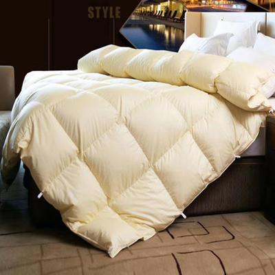 典雅鹅绒被80支贡缎羽绒被95白鹅绒被子双人单人被芯纯棉加厚保暖冬被 160*210国标95%大朵白鹅绒 典雅米黄