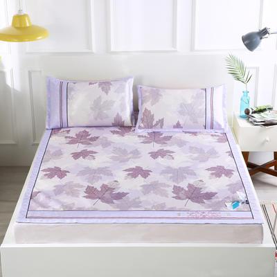 2019新款-印花水洗冰丝席 1.5*1.95m 枫叶紫色
