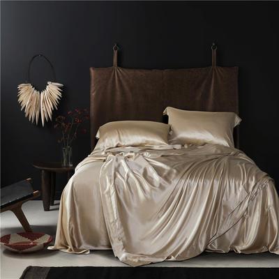 真丝四件套纯色全真丝绸100%桑蚕丝贡缎丝绸床上用品桑蚕丝 被套220*240cm 琪色天韵金色