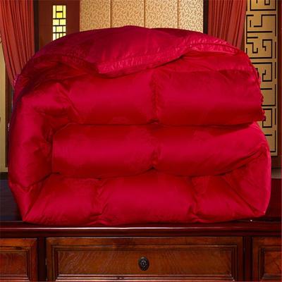 现充95%白鹅绒被80支全棉大提花双人单人被芯纯棉加厚保暖冬被臻品五色羽绒被 200*230(水洗白鸭绒) 中国红