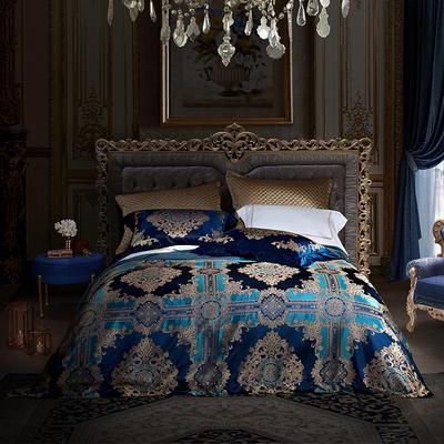 晋瑞家纺真丝四件套 丝绸100%桑蚕丝色织贡缎大提花丝绸床上用品 2.0m(6.6英尺)床 丹尼斯
