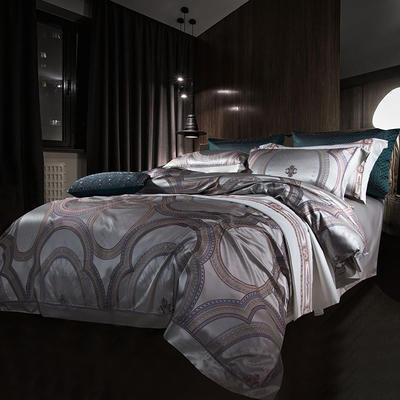 晋瑞家纺真丝四件套 丝绸100%桑蚕丝色织贡缎大提花丝绸床上用品 2.0m(6.6英尺)床 康斯坦丁