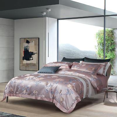 晋瑞家纺真丝四件套 丝绸100%桑蚕丝色织贡缎大提花丝绸床上用品 2.0m(6.6英尺)床 丽芙粉