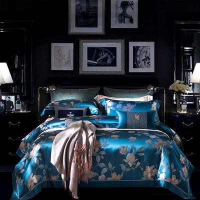 晋瑞家纺真丝四件套 丝绸100%桑蚕丝色织贡缎大提花丝绸床上用品 2.0m(6.6英尺)床 丽芙蓝