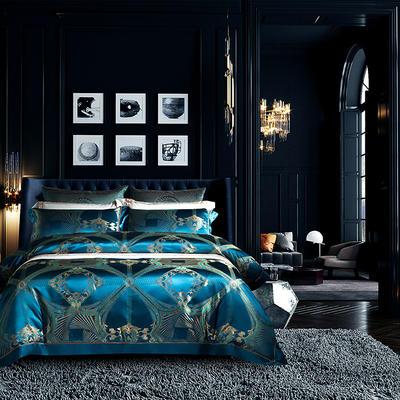 晋瑞家纺真丝四件套 丝绸100%桑蚕丝色织贡缎大提花丝绸床上用品 2.0m(6.6英尺)床 寐徹兰