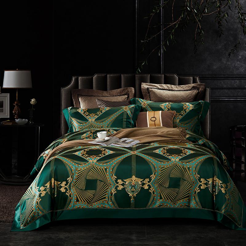 晋瑞家纺真丝四件套 丝绸100%桑蚕丝色织贡缎大提花丝绸床上用品