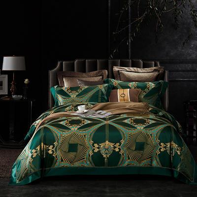 晋瑞家纺真丝四件套 丝绸100%桑蚕丝色织贡缎大提花丝绸床上用品 2.0m(6.6英尺)床 寐徹绿