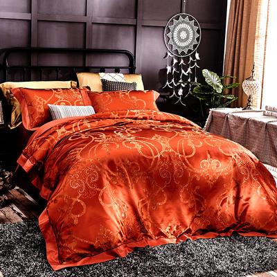 晋瑞家纺真丝四件套 丝绸100%桑蚕丝色织贡缎大提花丝绸床上用品 2.0m(6.6英尺)床 瑟兰迪尔