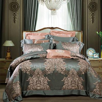 晋瑞家纺真丝四件套 丝绸100%桑蚕丝色织贡缎大提花丝绸床上用品 2.0m(6.6英尺)床 圣马力诺绿