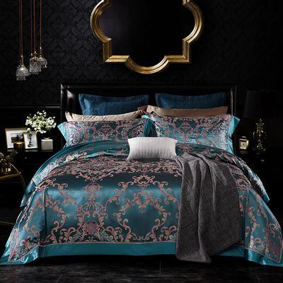晋瑞家纺真丝四件套 丝绸100%桑蚕丝色织贡缎大提花丝绸床上用品 2.0m(6.6英尺)床 圣维塔利绿