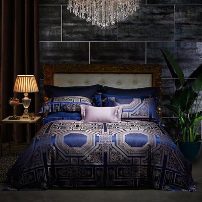 晋瑞家纺真丝四件套 丝绸100%桑蚕丝色织贡缎大提花丝绸床上用品 2.0m(6.6英尺)床 丝塔芙宝蓝