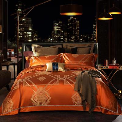 晋瑞家纺真丝四件套 丝绸100%桑蚕丝色织贡缎大提花丝绸床上用品 2.0m(6.6英尺)床 遗落桔