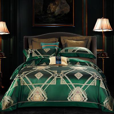 晋瑞家纺真丝四件套 丝绸100%桑蚕丝色织贡缎大提花丝绸床上用品 2.0m(6.6英尺)床 遗落绿