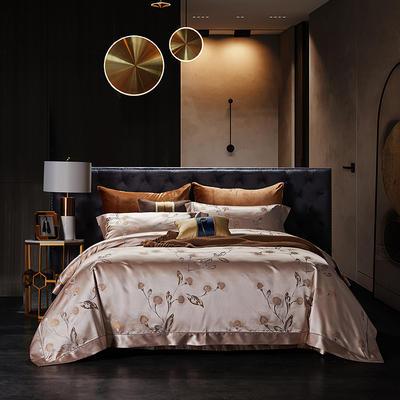 晋瑞家纺真丝四件套 丝绸100%桑蚕丝色织贡缎大提花丝绸床上用品 2.0m(6.6英尺)床 薄荷粉