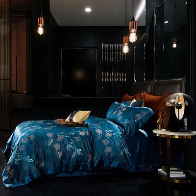 晋瑞家纺真丝四件套 丝绸100%桑蚕丝色织贡缎大提花丝绸床上用品 2.0m(6.6英尺)床 薄荷雀兰