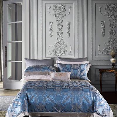 晋瑞家纺真丝四件套 丝绸100%桑蚕丝色织贡缎大提花丝绸床上用品 2.0m(6.6英尺)床 枫丹白露