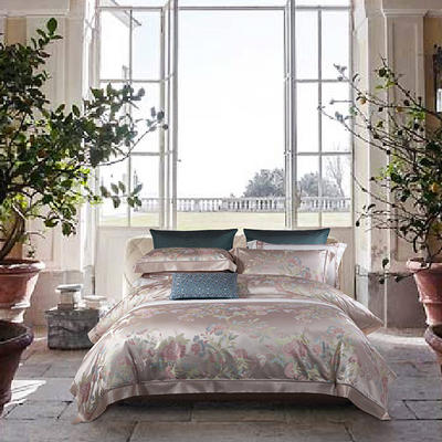 晋瑞家纺真丝四件套 丝绸100%桑蚕丝色织贡缎大提花丝绸床上用品 2.0m(6.6英尺)床 琴瑟在御