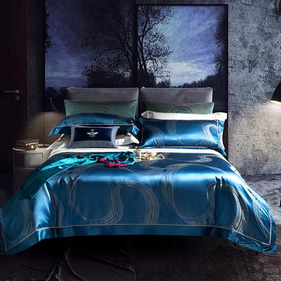 晋瑞家纺真丝四件套 丝绸100%桑蚕丝色织贡缎大提花丝绸床上用品 2.0m(6.6英尺)床 塞布鲁斯