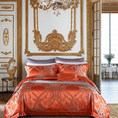 晋瑞家纺真丝四件套 丝绸100%桑蚕丝色织贡缎大提花丝绸床上用品 2.0m(6.6英尺)床 赛斯丁橘