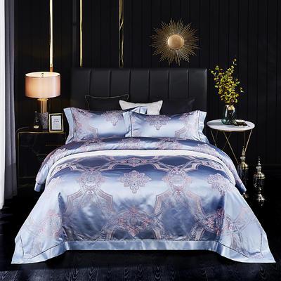 晋瑞家纺真丝四件套 丝绸100%桑蚕丝色织贡缎大提花丝绸床上用品 2.0m(6.6英尺)床 玉眠