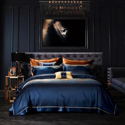 晋瑞家纺真丝四件套 丝绸100%桑蚕丝色织贡缎大提花丝绸床上用品 2.0m(6.6英尺)床 御龙宝蓝